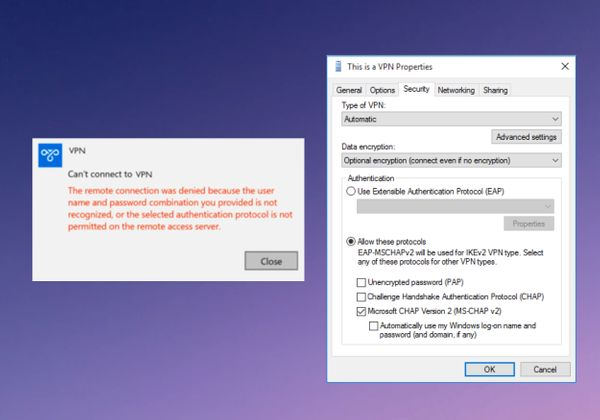 VPN on Windows 10: Selected Authentication protocol not permitted on the remote access server