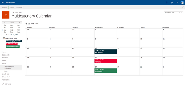 SharePoint: Multicoloured events in Calendar